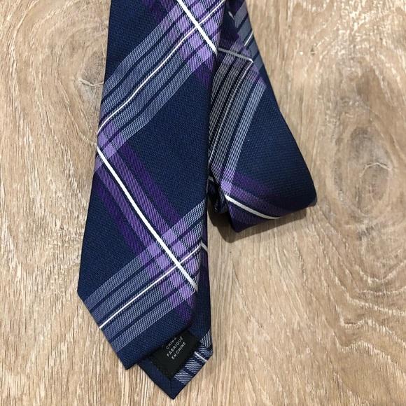 Michael Kors Navy Blue/Purple Plaid Tie